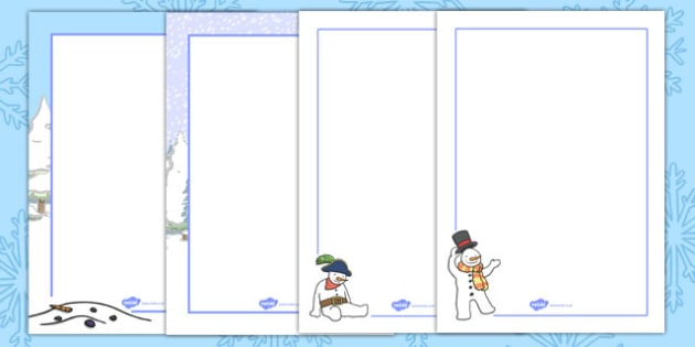 Five Little Snowmen Fat Page Borders - border, pages, snowman
