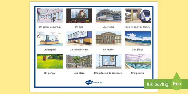 Places in Town Word Mat - Spanish KS2, places, town, city, village, word mat