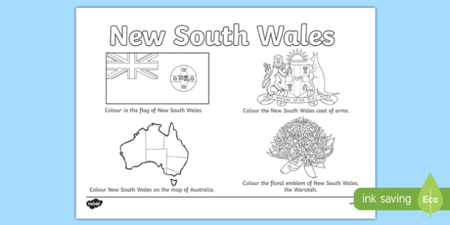 New South Wales Colouring Sheet - australia, colouring, flag, coat of arms, floral emblem, map, Australia, Art, Geography, states, territories