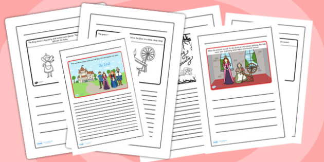Sleeping Beauty Story Writing Frames - sleeping beauty, story writing frames, wriitng frames, writing templates, line guides, writing aid, guided writing