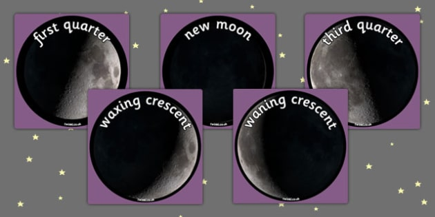 Phases of the Moon Display Photo Cut Outs - space, moon, cut out