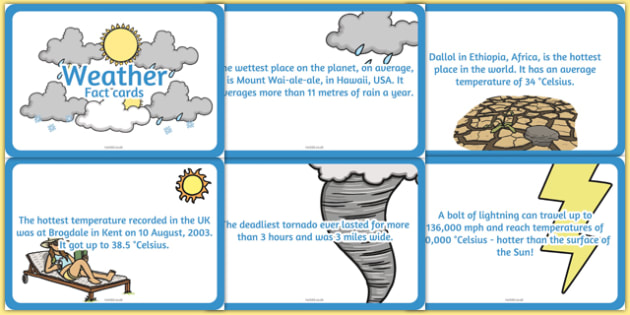 Amazing Weather Display Fact Cards - weather, cards, facts