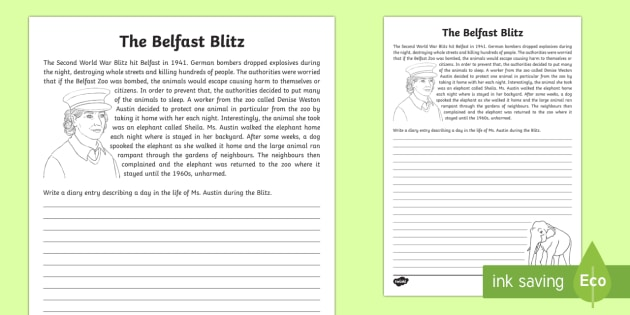 Belfast Blitz - Sheila the Elephant Writing Activity Sheet - World Around Us KS2, history, ww2, world war 2, northern ireland world war 2, the blitz