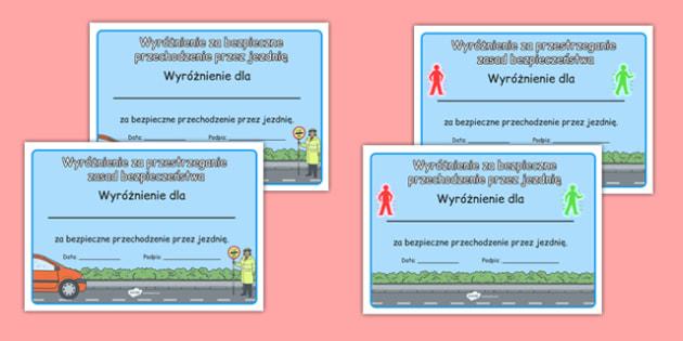 Certyfikat Bezpieczeństwo na drodze po polsku - przepisy