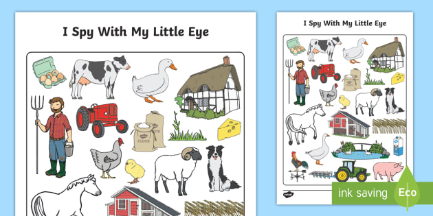 On the Farm Themed I Spy With My Little Eye Activity - I spy