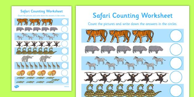 My Counting Worksheet Safari Themed - counting, worksheet, count, safari, themed