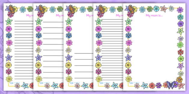 My Mum Is Page Page Borders - Mother's day, my mum is, page border, border, writing template, writing aid, writing, Mother's day activity, Mother's day resource