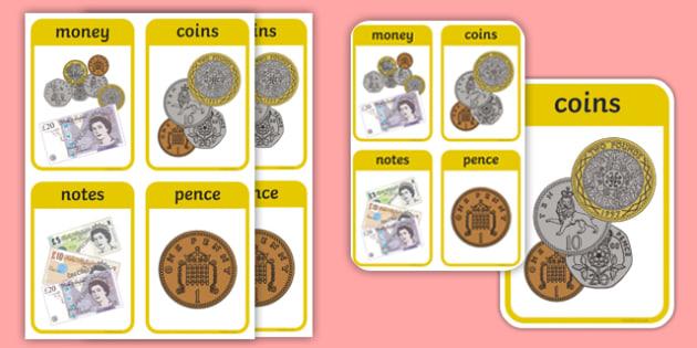 CfE Early Level Numeracy and Mathematics Money Keyword Flashcards-Scottish