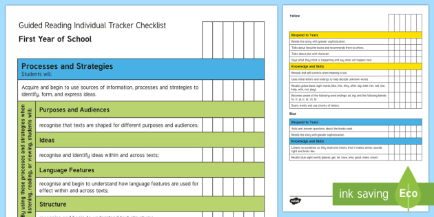 New Zealand First Year of School Reading Individual Tracker Checklist - Reading, First year of School, assessment, colour wheel