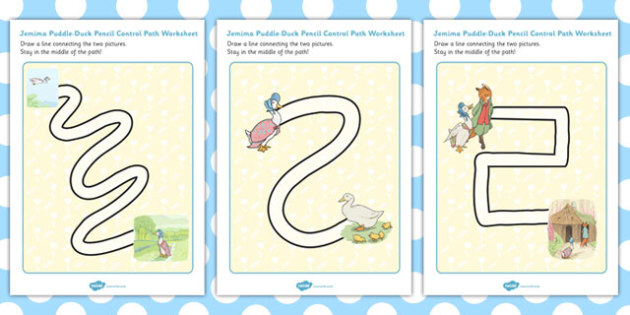 The Tale of Jemima Puddle Duck Pencil Control Path Worksheets