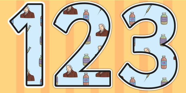 Edward Jenner Themed Display Numbers - edward jenner, display numbers, themed number, classroom number, numbers for display, numbers, numbers display
