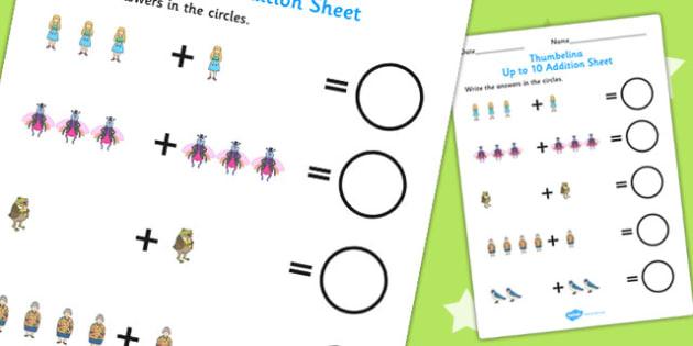 Thumbelina Up to 10 Addition Sheet - adding, add, numeracy, maths