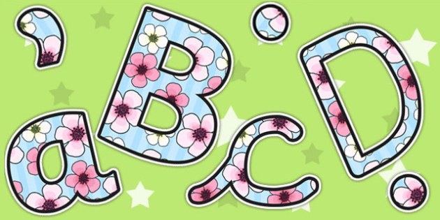 Blossom Themed Size Editable Display Lettering - blossom, letters