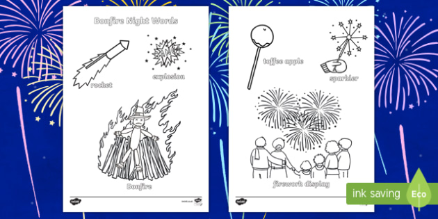 Bonfire Night Themed Words Colouring Sheet