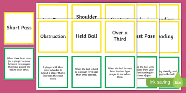 Netball Terms and Skills Matching Cards