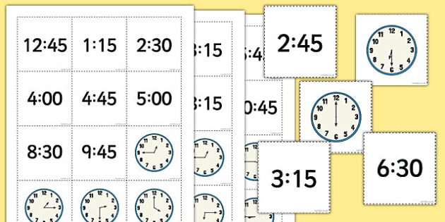 Telling the Time Digital Analogue Pelmanism Game: Hour, Half, Quarter - telling the time, game