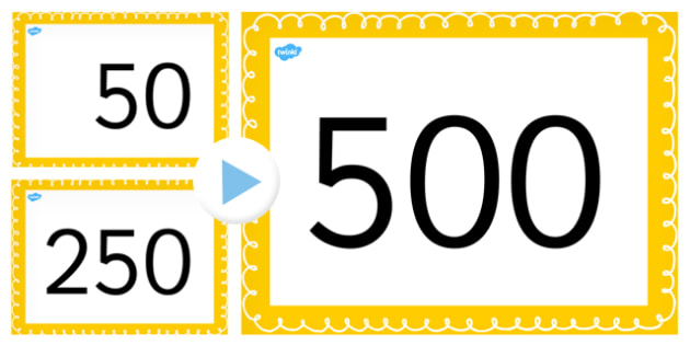 Counting On and Back in 50s up to 500 PowerPoint - counting,50