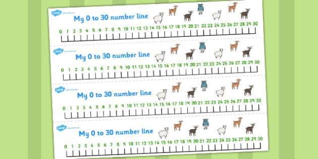 The Three Billy Goats Gruff Number Lines 0-30 - number lines, 30
