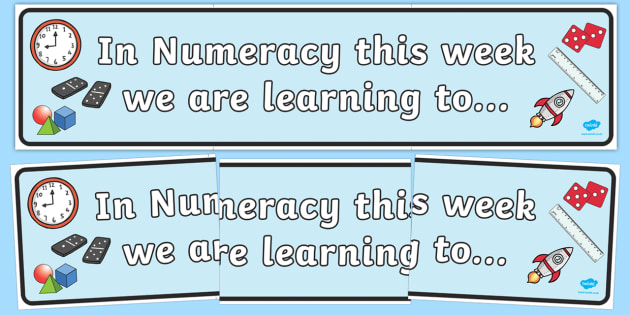 In Numeracy this Week Working Wall Banner - maths display, banner