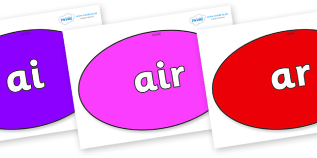 Phase 3 Phonemes on Ovals - Phonemes, phoneme, Phase 3, Phase three, Foundation, Literacy, Letters and Sounds, DfES, display