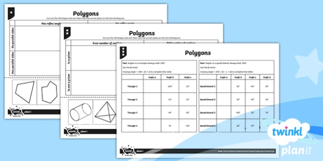 PlanIt Y6 Properties of Shapes Geometric Shapes Home Learning Tasks - Properties of Shape, 2D shapes, geometric shapes, comparing shapes, classifying shapes, quadrilatera
