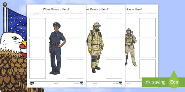 What Makes a Hero? Activity Sheet - Patriot Day, September 11th, World Trade Center, hero, writing, worksheet
