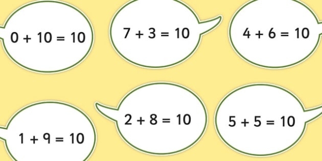 Number Bonds to Ten on Speech Bubbles - displays, numbers, bonds