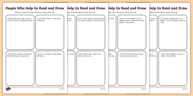 People Who Help Us Read and Draw Activity Sheets-Irish, worksheet