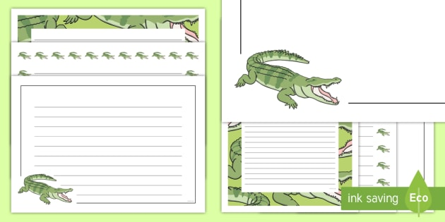 Crocodile Themed Page Borders Pack - The Selfish Crocodile, writing, literacy, display, english, ks1, ks2, animals, zoo, jungle, reptile
