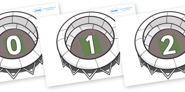 Numbers 0-100 on Stadiums - 0-100, foundation stage numeracy, Number recognition, Number flashcards, counting, number frieze, Display numbers, number posters
