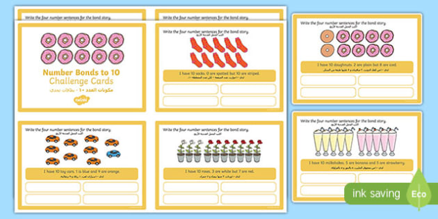 Number Bonds to 10 Stories Challenge Cards Arabic Translation-Arabic-translation
