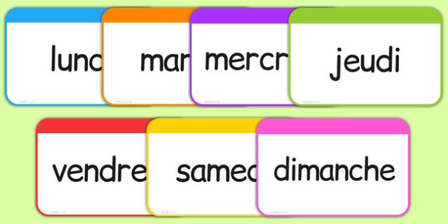 Les jours de la semaine Flashcards French - french, days, week