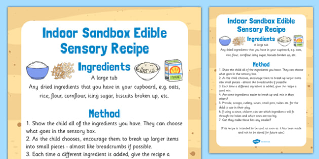 Indoor Sandbox Edible Sensory Recipe - indoor, sandbox, edible, sensory, recipe