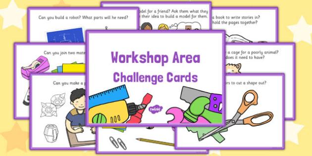 Workshop Area Challenge Cards - challenge, cards, workshop