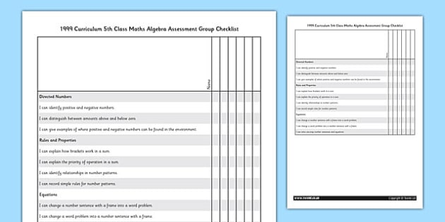 1999 Curriculum 5th Class Maths Algebra Assessment Group Checklist - roi, gaeilge, maths, curriculum, 1999