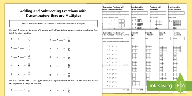 Fractions worksheets for yr 5