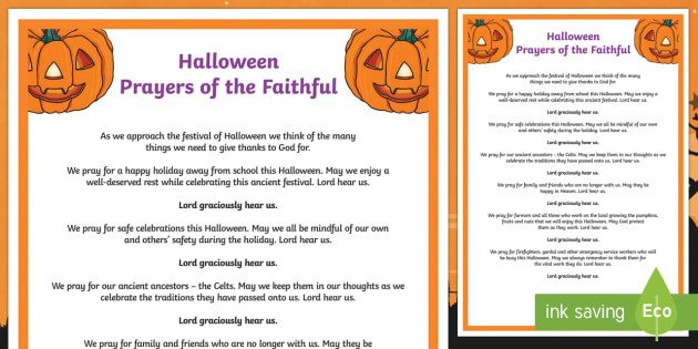 Halloween Prayers of the Faithful Print-Out