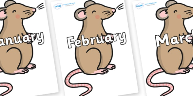 Months of the Year on Mouse - Months of the Year, Months poster, Months display, display, poster, frieze, Months, month, January, February, March, April, May, June, July, August, September