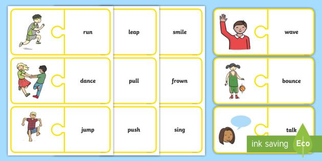 EAL Verbs Matching Jigsaw - eal, verbs, matching, jigsaw, match