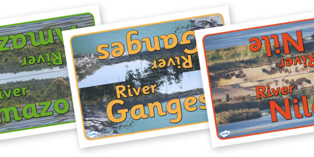 Rivers Table Group Signs - world rivers, river, world, geography, biggest rivers, big, group signs, group labels, group table signs, table sign, teaching groups, class group, class groups, table label, The River Thames, The Amazon, The River Nile, Th