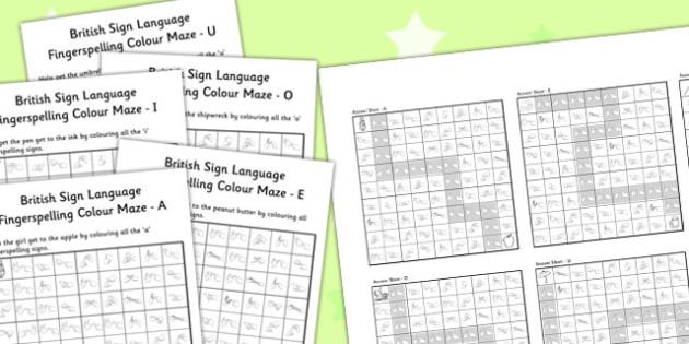 British Sign Language Left Handed Fingerspell Colour Maze Vowel