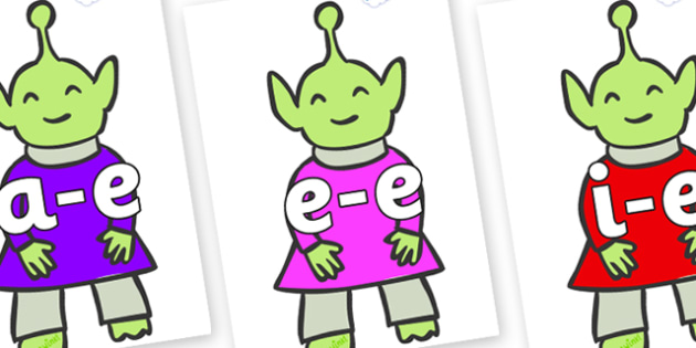 Modifying E Letters on Aliens - Modifying E, letters, modify, Phase 5, Phase five, alternative spellings for phonemes, DfES letters and Sounds