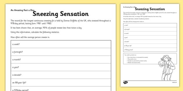 Sneezing Sensation Activity Sheet - number problems, calculations, sneezing sensation, worksheet