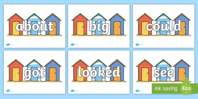 100 High Frequency Words on Beach Huts - High frequency words, hfw, DfES Letters and Sounds, Letters and Sounds, display words