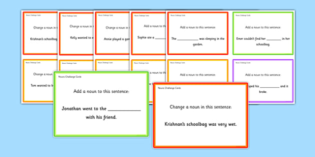 Nouns Challenge Cards - roi, irish, gaeilge, english, sentence level, nouns, reading, game