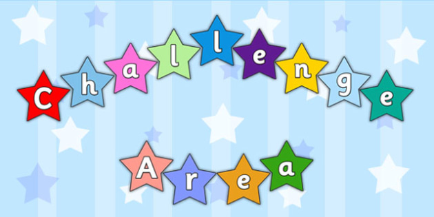 Challenge Area on Multicoloured Stars Display Cut Outs - cut outs
