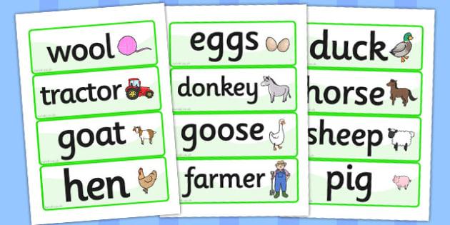 On the Farm Word Cards - Word cards, Word Card, flashcard, flashcards, farm, pig, cow, chicken, goat, tractor, farmer, chicken, goat, sheep, hay, milk, eggs