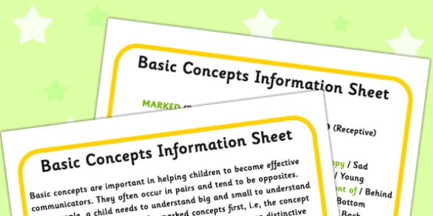 Basic Concepts Information Sheet - concept, SEN, visual aid