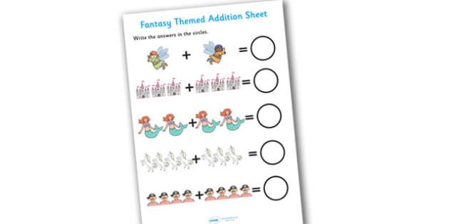 Fantasy Themed Addition Sheet - fantasy themed, addition sheet, addition worksheet, fantasy themed worksheet, fantasy themed addition sheet