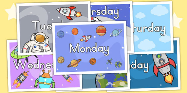 Space Themed Days of the Week Posters - australia, display, space